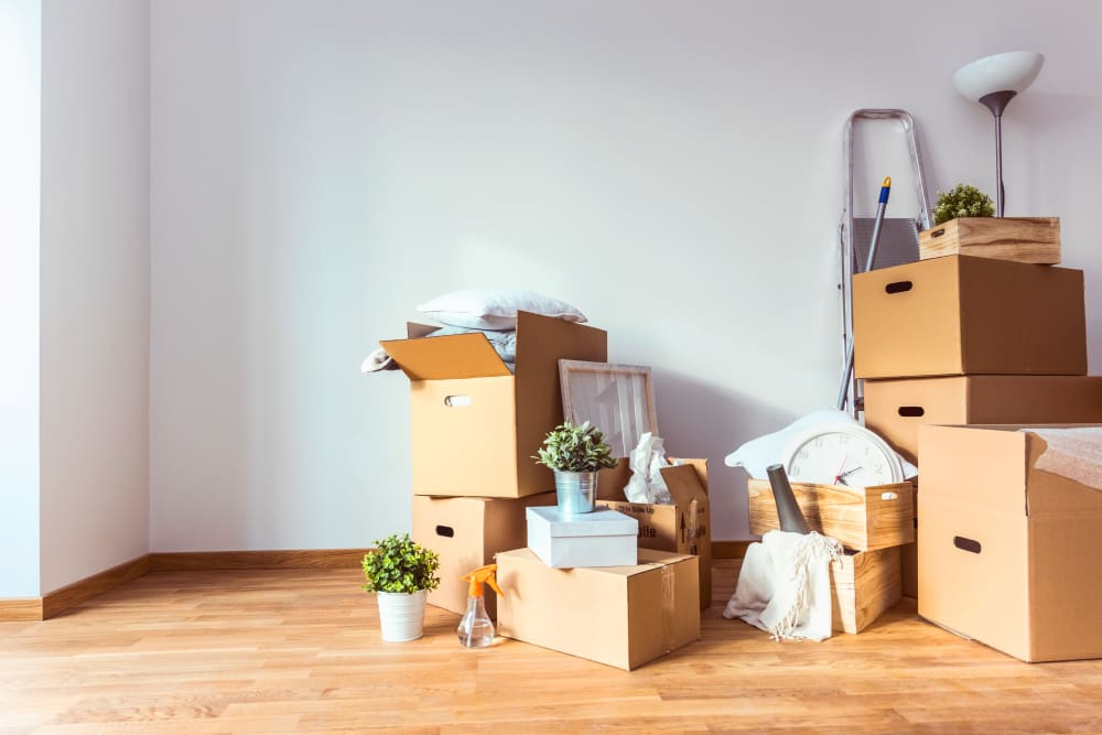Items boxed and prepared for storage in Pearland, Texas at Devon Self Storage