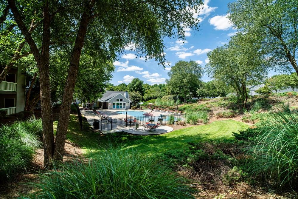 A beautifully lush landscape at 200 Braehill in Winston-Salem, North Carolina