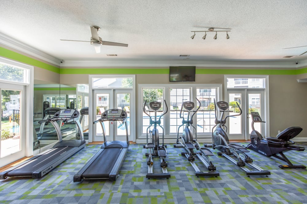 A fitness center with individual workout stations at 200 Braehill in Winston-Salem, North Carolina