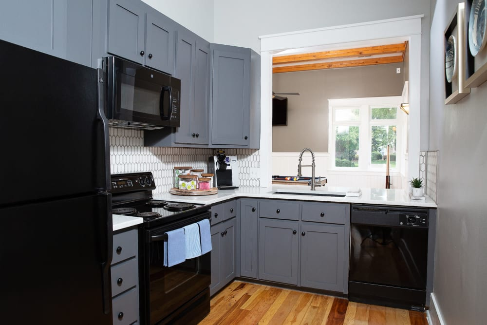 A community kitchen for entertaining guests at 7029 West in Greensboro, North Carolina