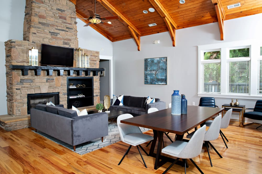 A rustic clubhouse with plenty of seating at 7029 West in Greensboro, North Carolina