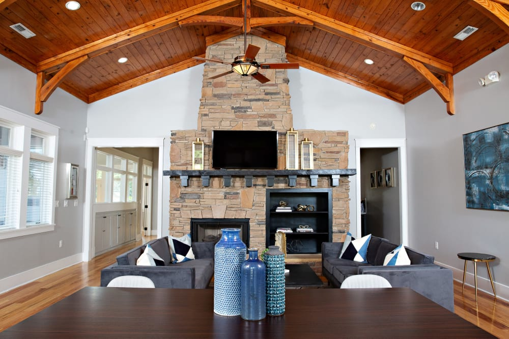 A clubhouse with a fireplace at 7029 West in Greensboro, North Carolina