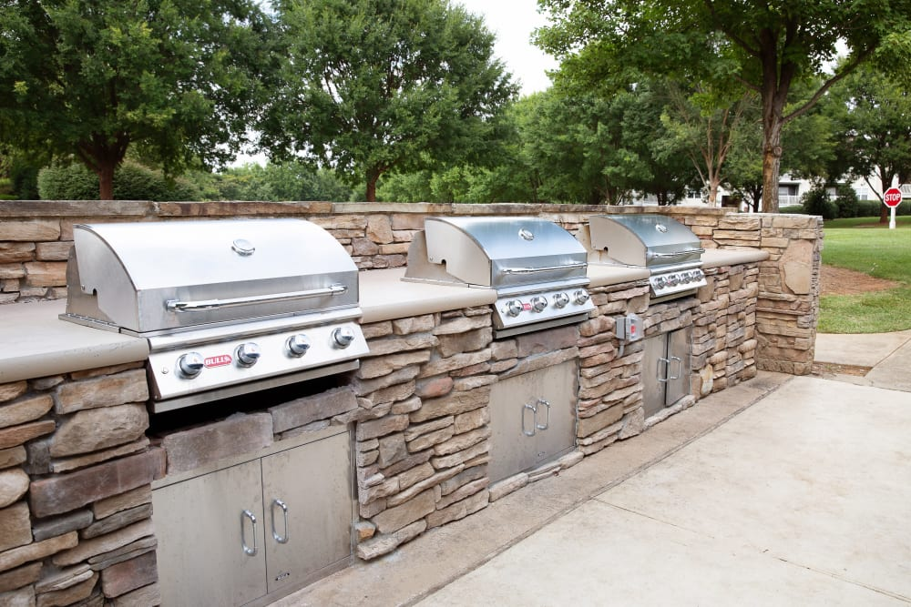 Three barbeque grills for nice summer days at 7029 West in Greensboro, North Carolina