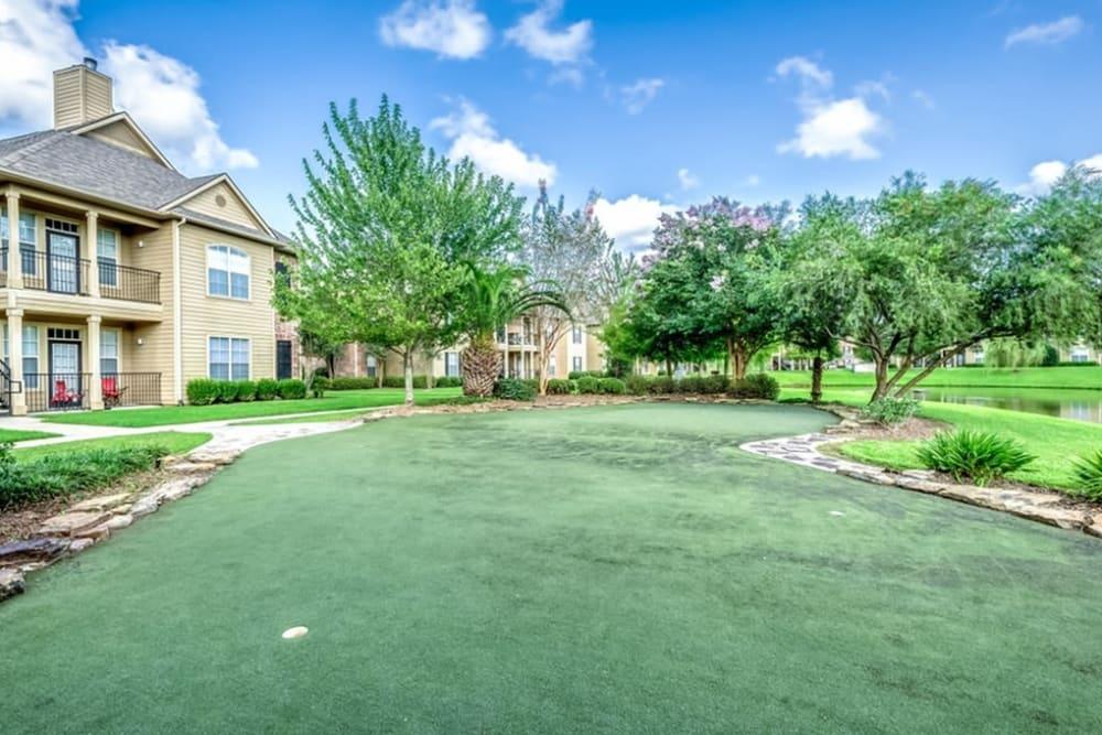 Putting green at Audubon Lake Apartment Homes in Lafayette, Louisiana