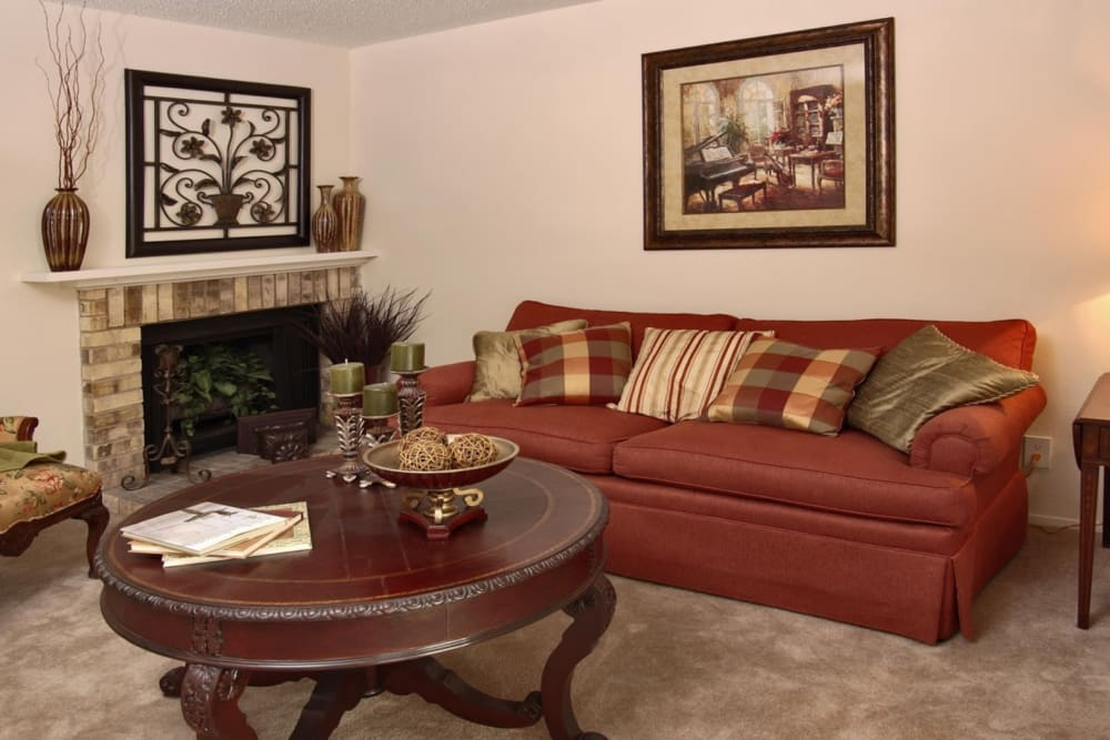 Living room at Grand Seasons Apartment Homes in Dallas, Texas