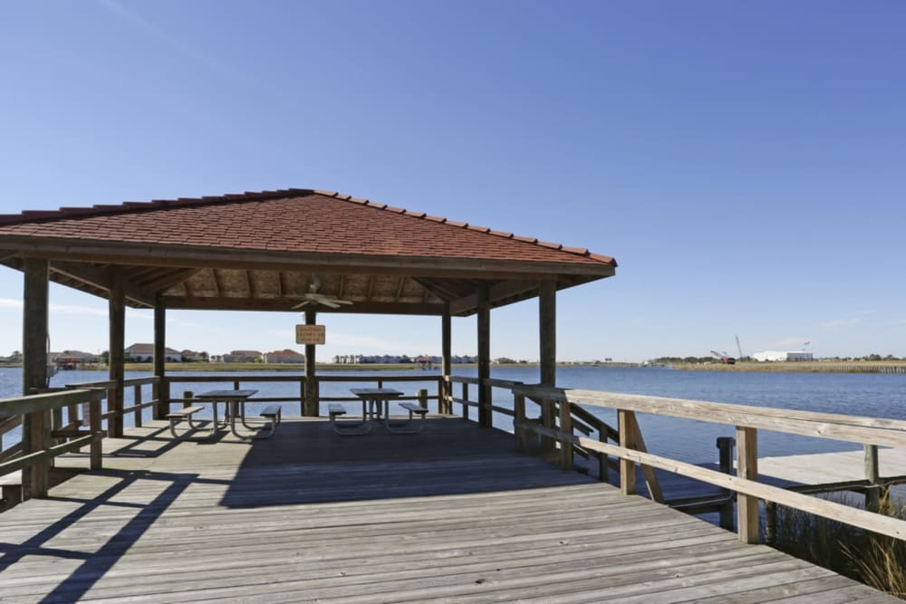 Gazebo by the water at Harborside Apartment Homes in Slidell, Louisiana