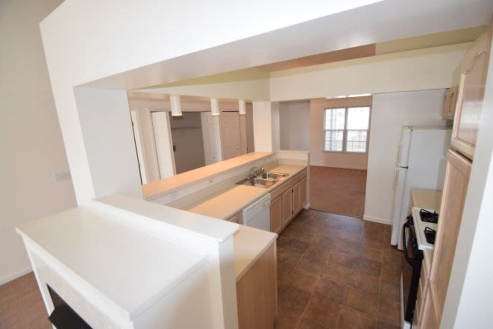 Spacious kitchen at Lake Pointe Apartment Homes in Portage, Indiana