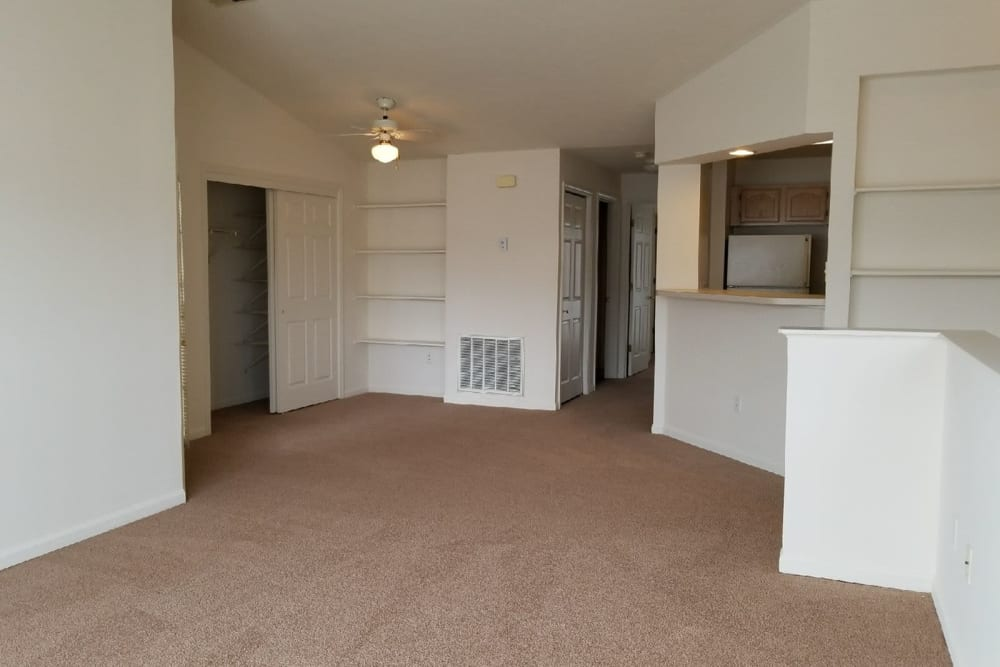 Spacious living room at Lake Pointe Apartment Homes in Portage, Indiana