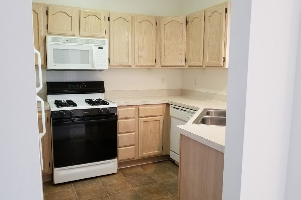 Kitchen at Lake Pointe Apartment Homes in Portage, Indiana