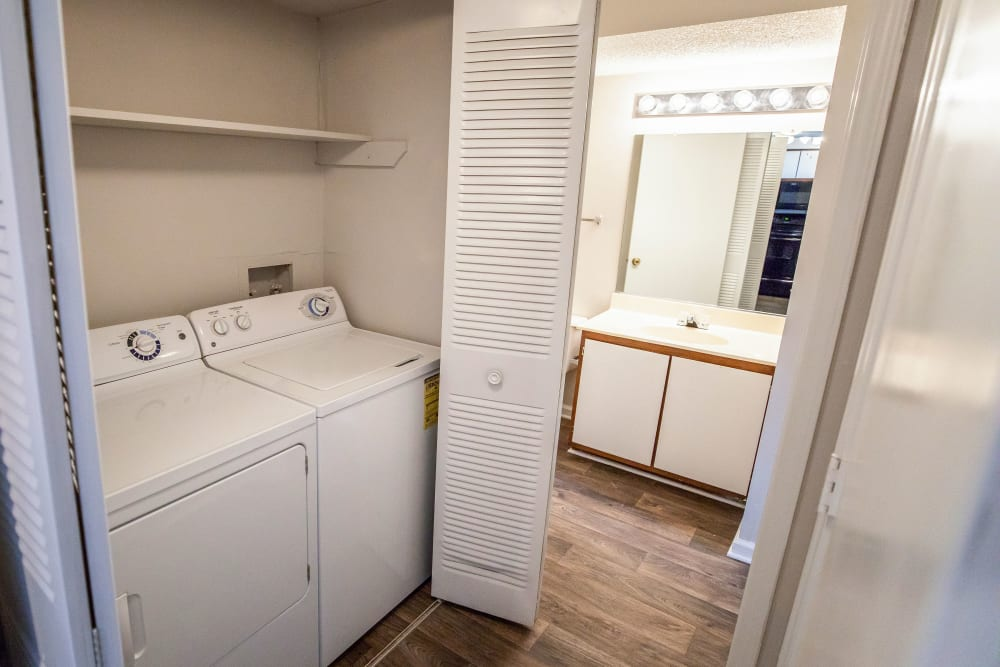 An in house washer and dryer at Mill Creek Flats in Winston Salem, North Carolina