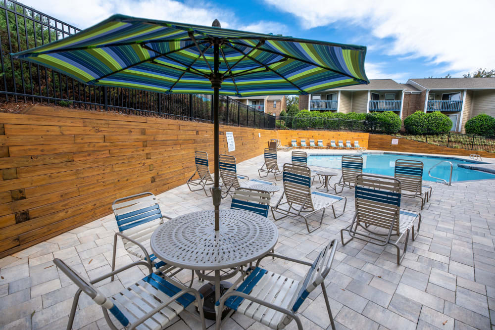 A sundeck with plenty of table and chairs at Mill Creek Flats in Winston Salem, North Carolina