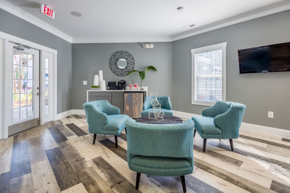 A clubhouse with a coffee bar at Residences at West Mint in Mint Hill, North Carolina