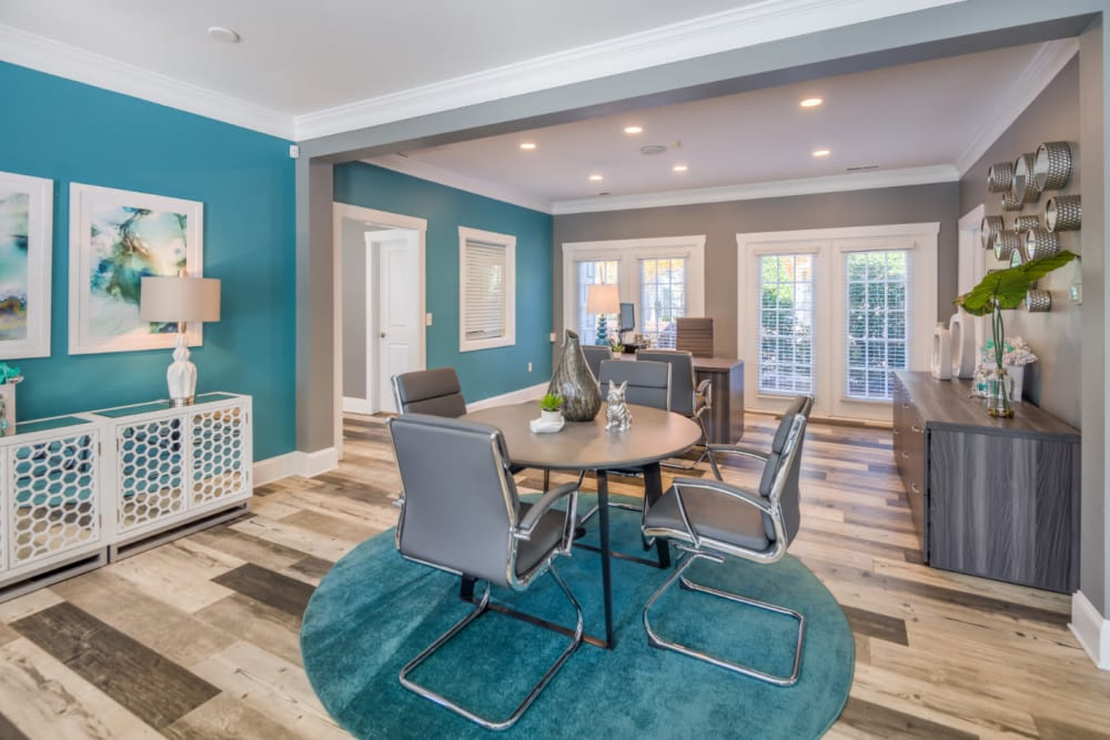 A table for two in the clubhouse at Residences at West Mint in Mint Hill, North Carolina