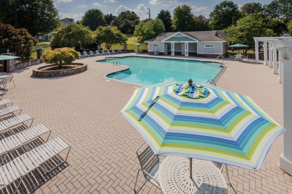 A sparkling swimming pool at Residences at West Mint in Mint Hill, North Carolina