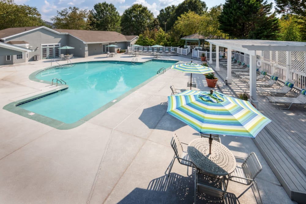 A swimming pool with a cover gazebo at Residences at West Mint in Mint Hill, North Carolina