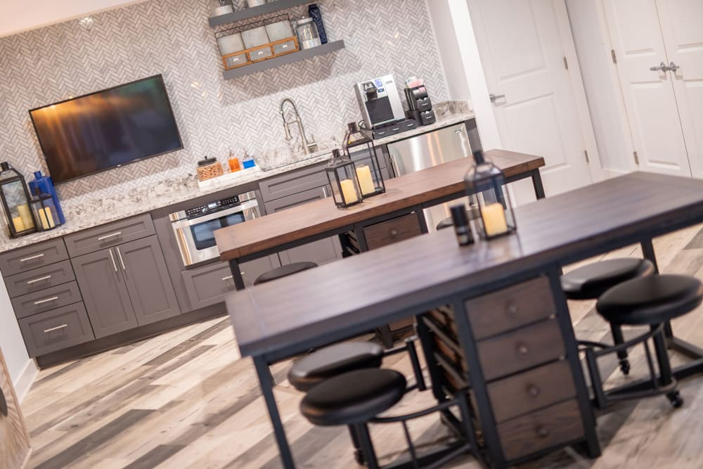 A community kitchen for entertaining guests at The Corners at Crystal Lake in Winston Salem, North Carolina