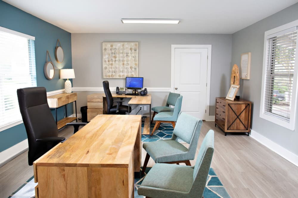 The leasing office at Woodlake Reserve in Durham, North Carolina