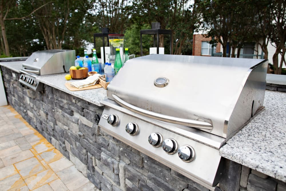 Barbeque stations for resident use at Woodlake Reserve in Durham, North Carolina