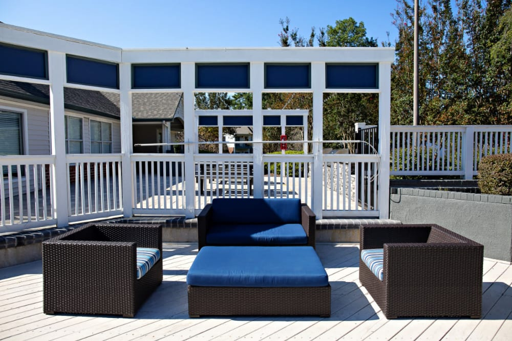 An outdoor lounge area with comfortable seating
