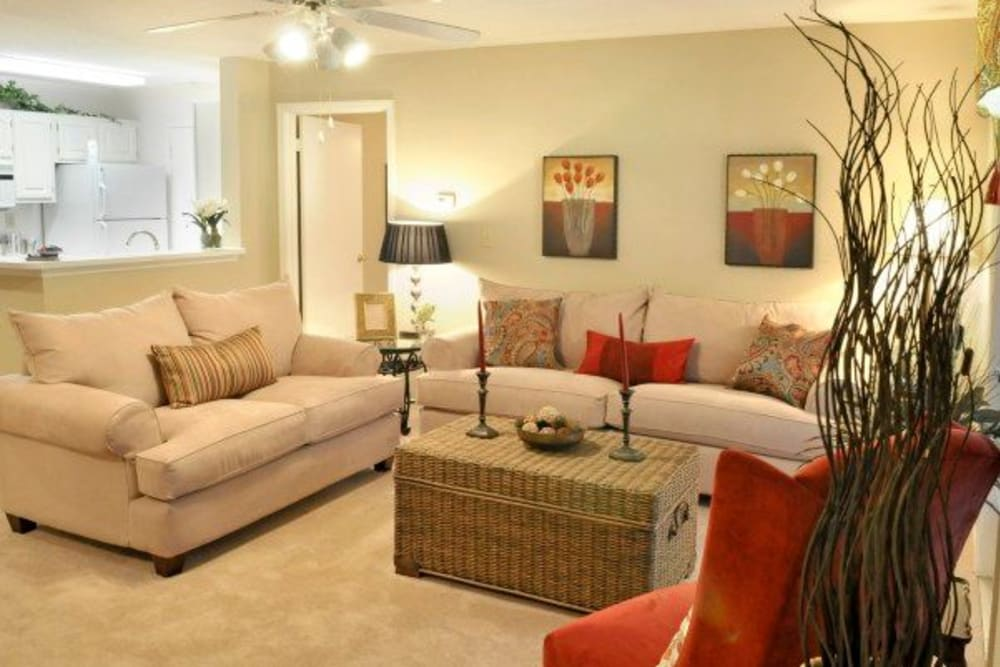 Living room at Rivoli Run Apartment Homes in Macon, Georgia