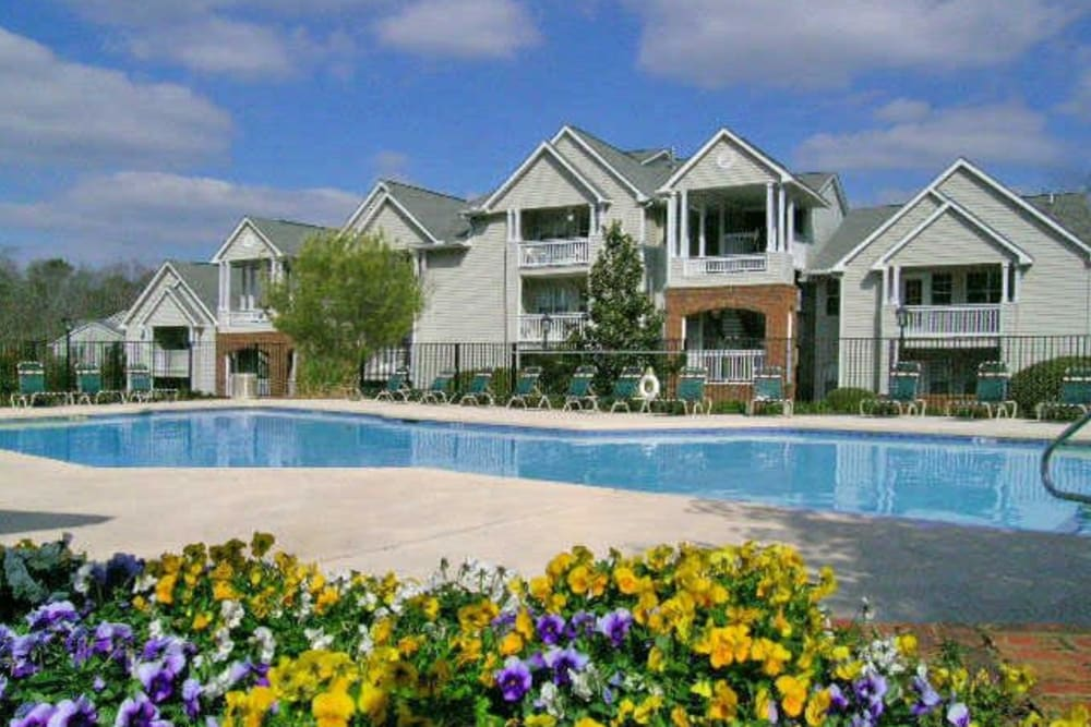 Sparkling pool at Rivoli Run Apartment Homes in Macon, Georgia