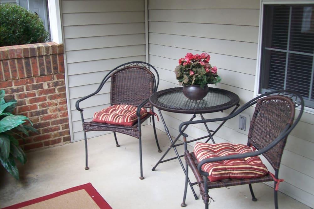 Private patio at Rivoli Run Apartment Homes in Macon, Georgia