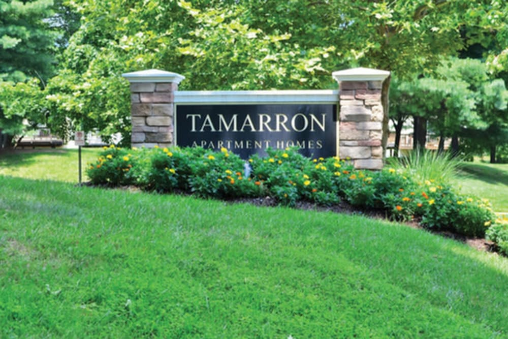 Front sign at Tamarron Apartment Homes in Olney, Maryland