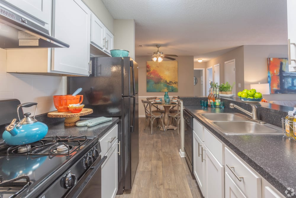 A kitchen with plenty of countertop space at The Samuel in Hampton, Virginia