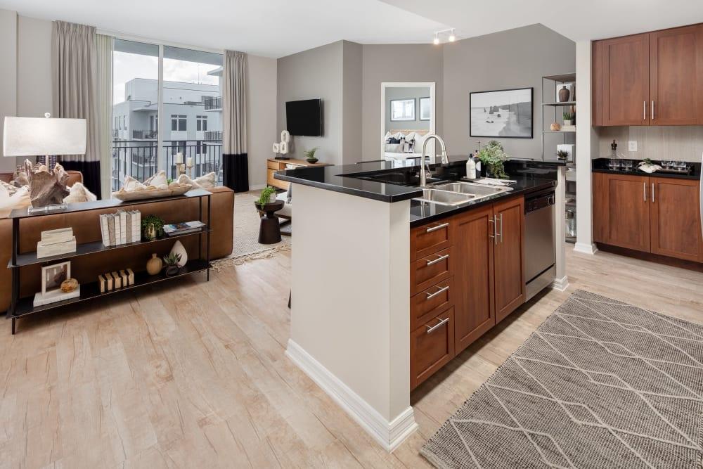 Beautiful open-concept floor plan in a model luxury apartment at American Landmark's Midtown 24 community