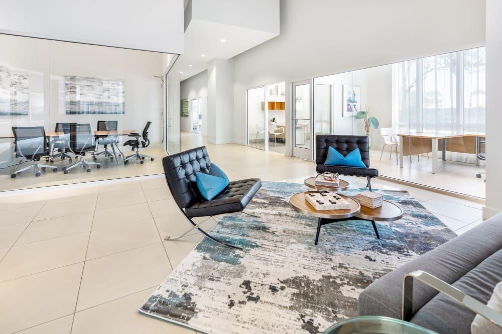 Welcoming and lavishly furnished lobby interior at American Landmark's Midtown 24 luxury community
