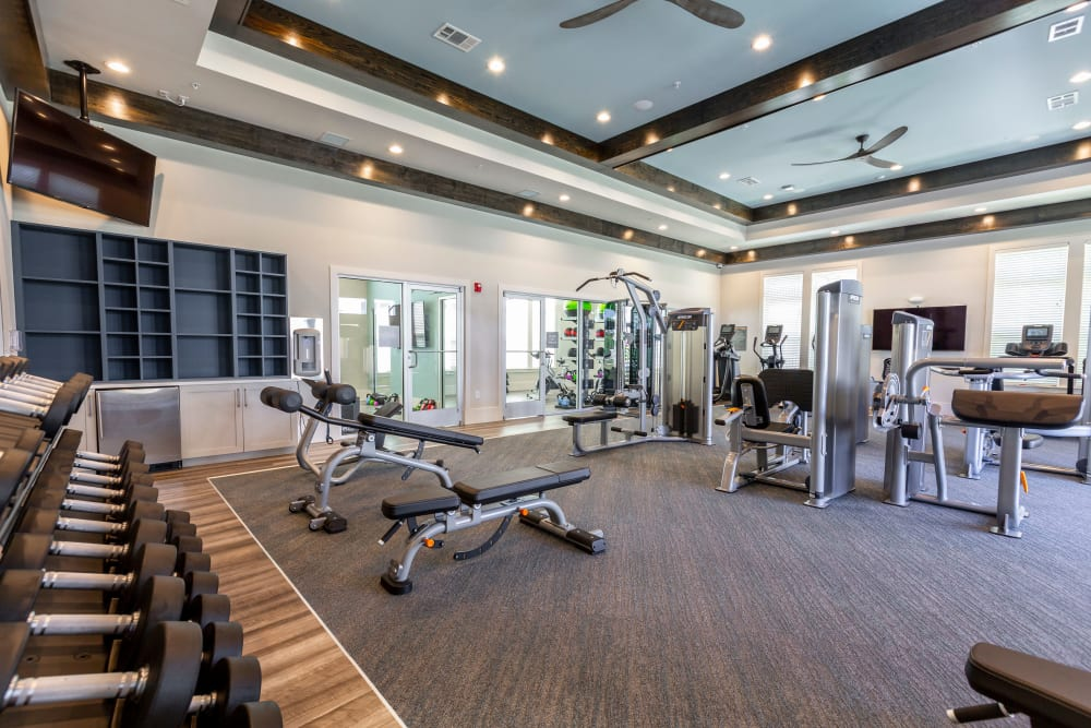 Well-equipped and renovated fitness center at American Landmark's Parc at Wesley Chapel luxury property