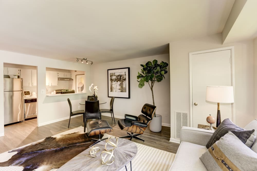 A spacious living room in a model home at The Landings I & II Apartments in Alexandria, Virginia