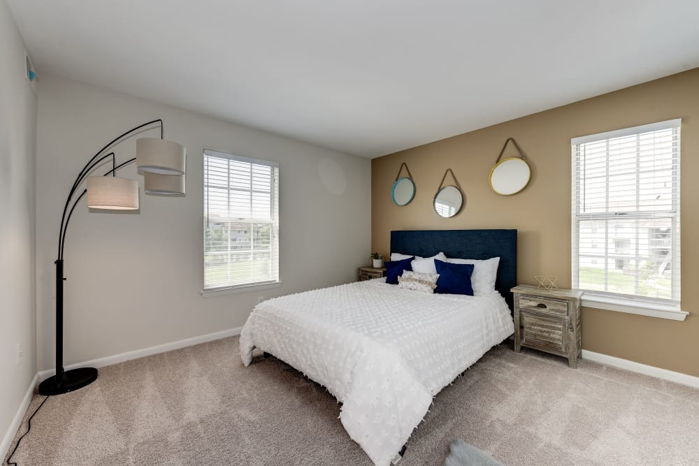 A large main bedroom at The Landings I & II Apartments in Alexandria, Virginia