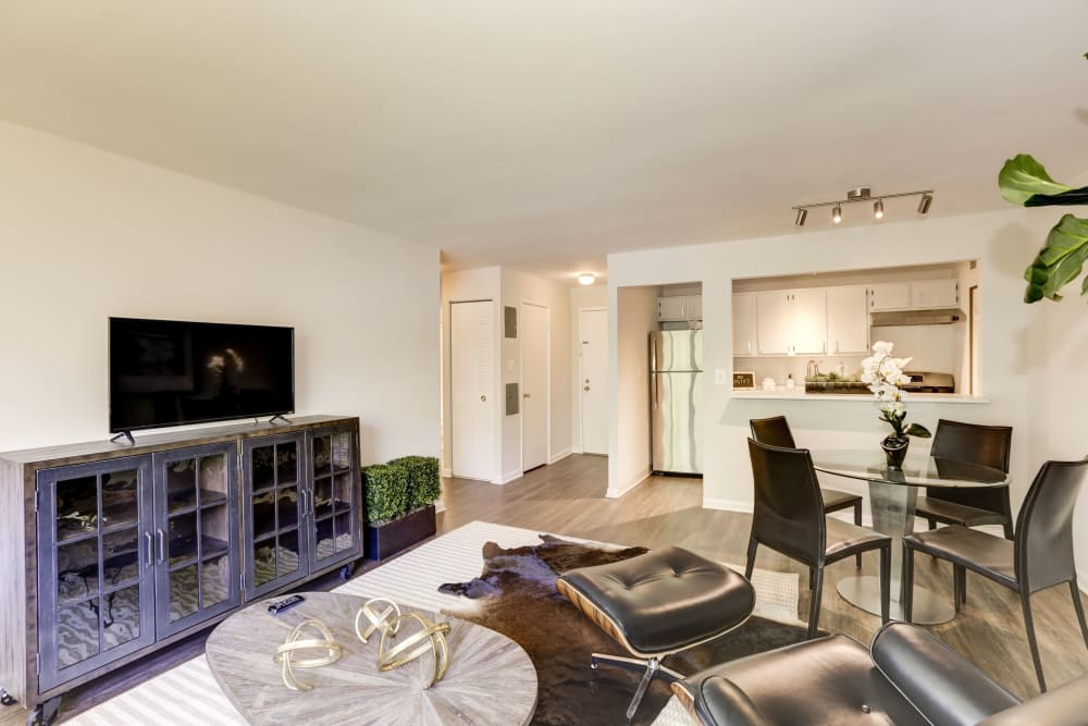 A spacious and modern living room at The Landings I & II Apartments in Alexandria, Virginia