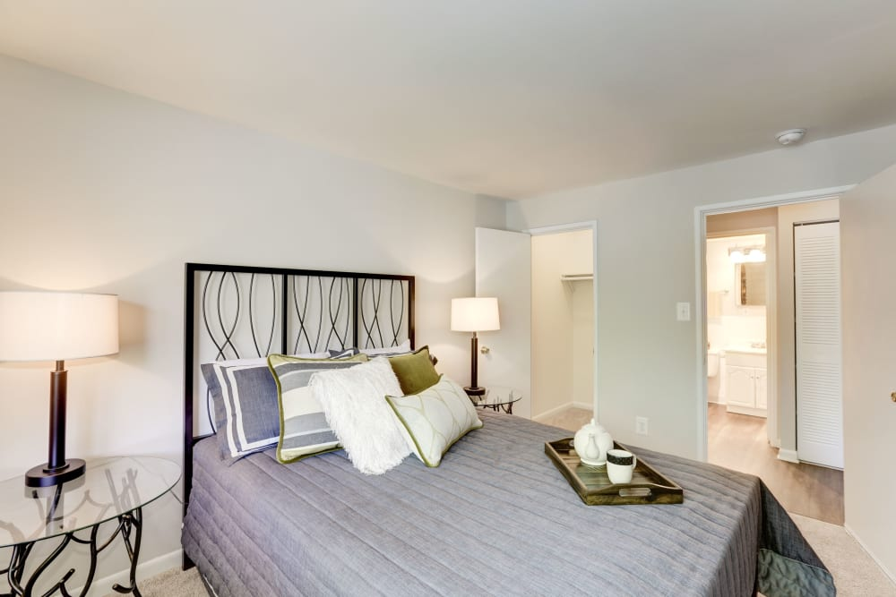 A large bedroom with a walk-in closet at The Landings I & II Apartments in Alexandria, Virginia