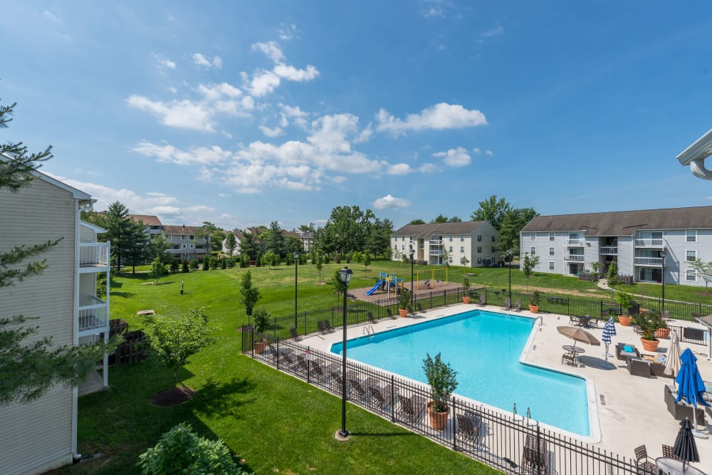 An aerial view of the swimming pool at The Landings I & II Apartments in Alexandria, Virginia
