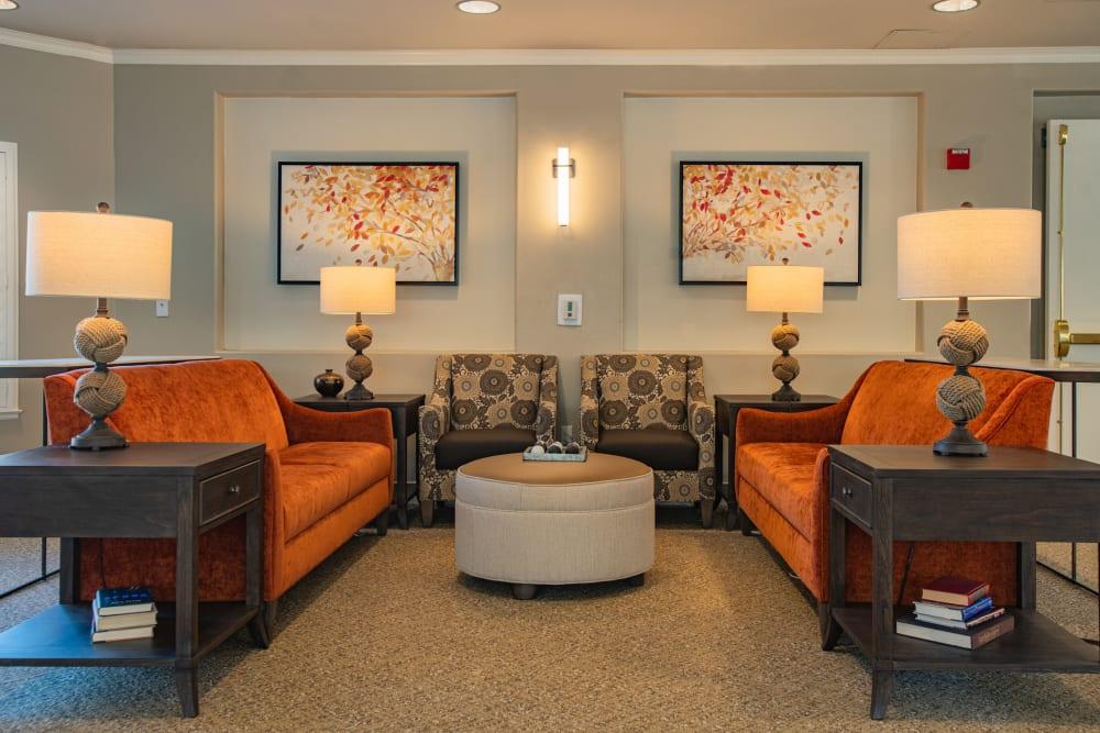 Comfy lounge seating at Carefield Pleasanton in Pleasanton, California.