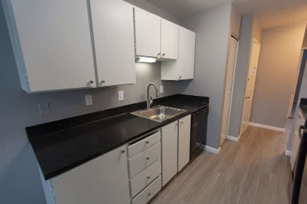 Lots of counter and cabinet space in a kitchen at Courtyards at Cedar Hills in Beaverton, OR