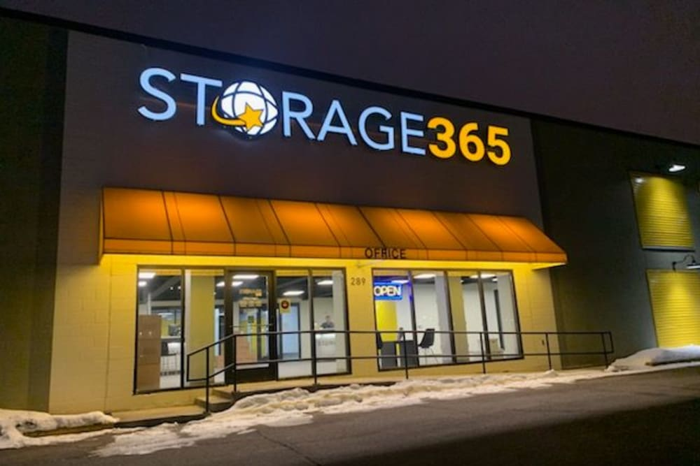 Exterior signage lit up at night at Storage 365 in St. Paul, Minnesota