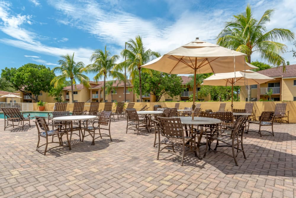 Pool Area Lounge at Fairway View Apartments in Hialeah, Florida
