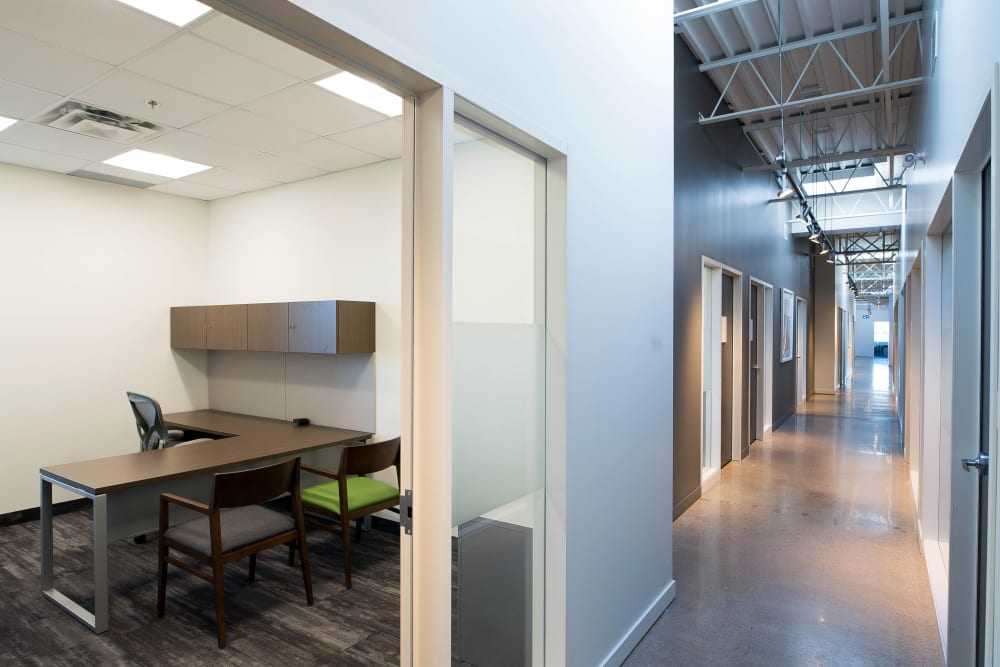 Entrance to a private office suite at Apple Self Storage - Oakville in Oakville, Ontario