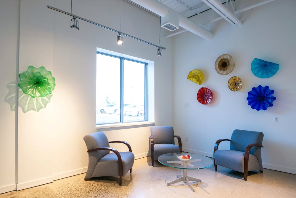 Waiting area for our office suites at Apple Self Storage - Oakville in Oakville, Ontario