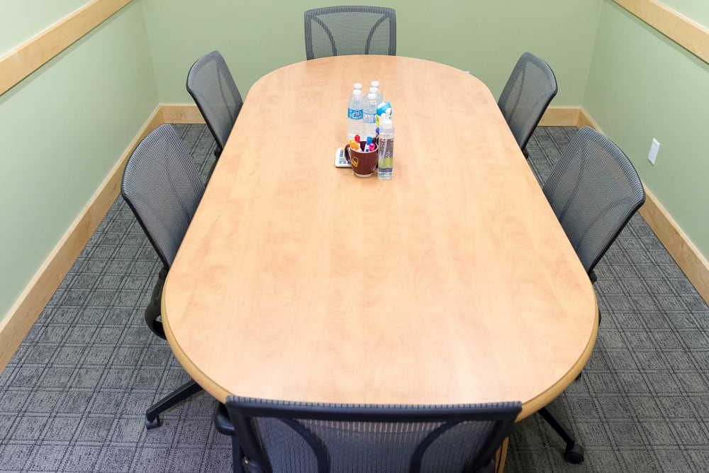 Overhead view of the table in the meeting room at Apple Self Storage - Toronto Downtown in Toronto, Ontario