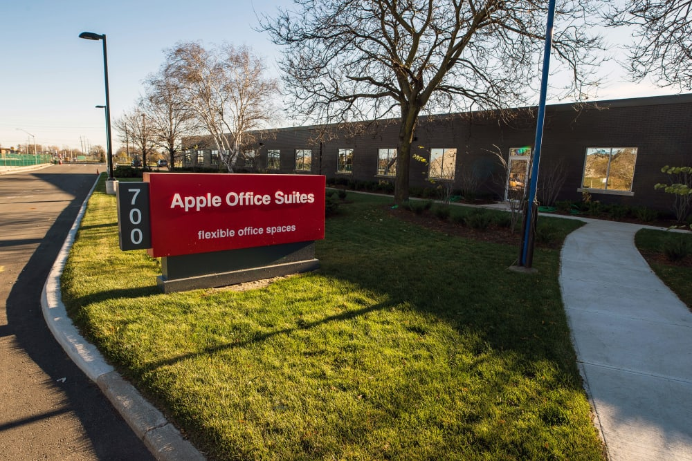 Sign to our office suite building at Apple Self Storage - Oakville in Oakville, Ontario