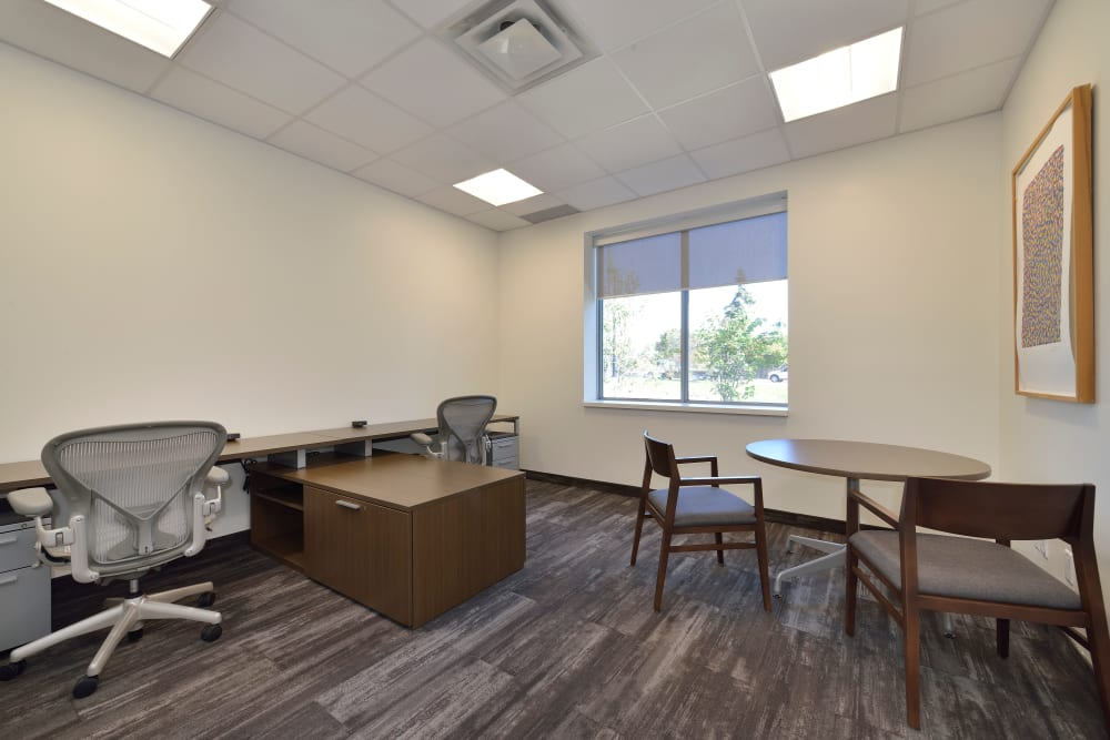 Office space with a large window at Apple Self Storage - Oakville in Oakville, Ontario