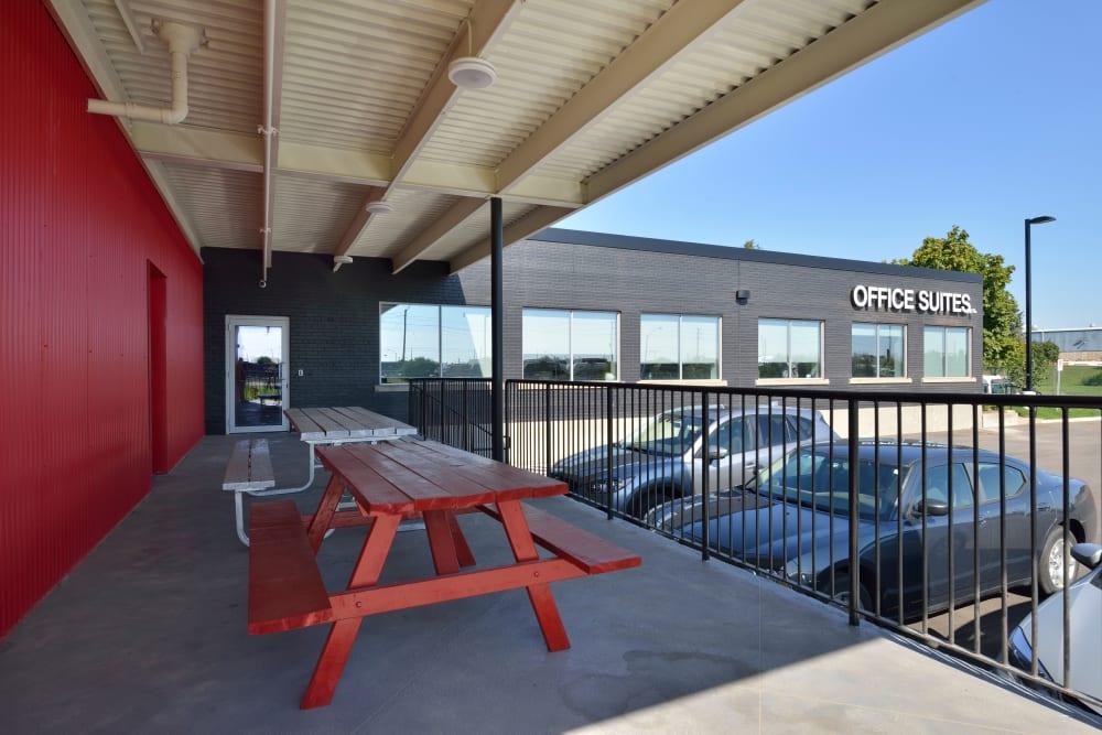 Outdoor patio at Apple Self Storage - Oakville in Oakville, Ontario