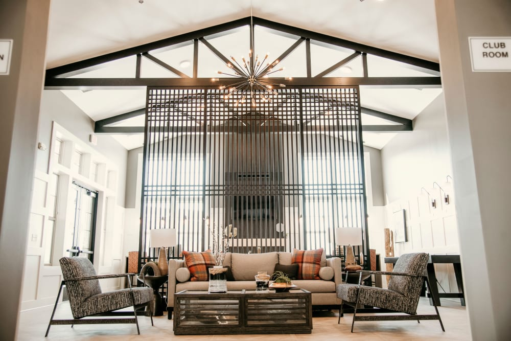 Stylish bright living room at The 450 in Lombard, Illinois