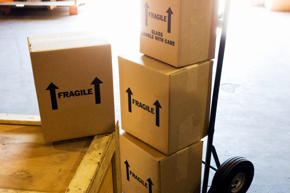 Boxes on dollies at Monster Self Storage in Winston-Salem, North Carolina