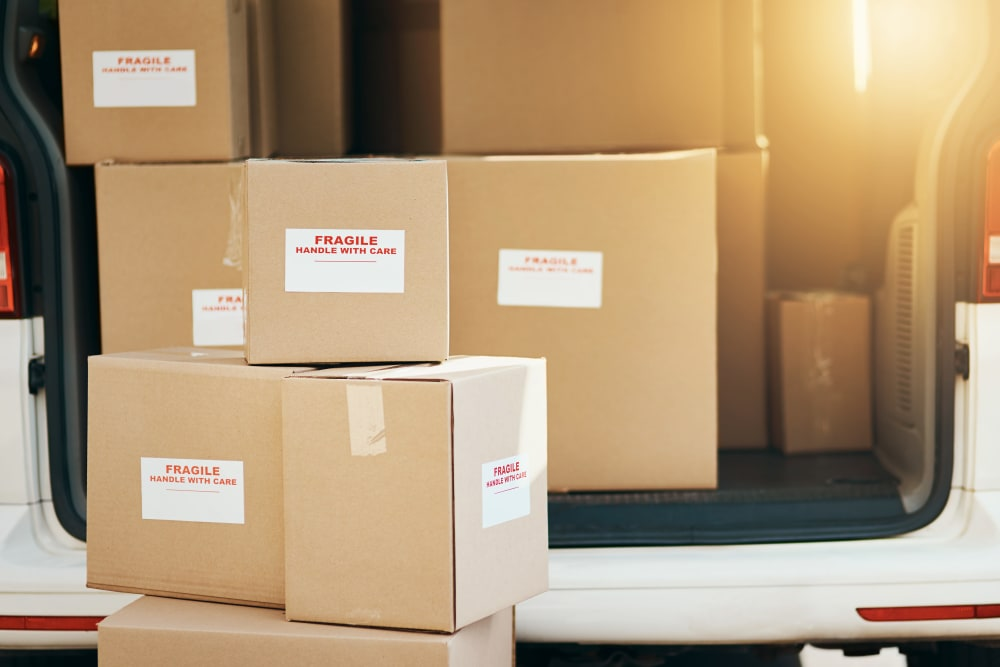 Boxes loaded into moving van in preparation for their move to Monster Self Storage in Winston-Salem, North Carolina