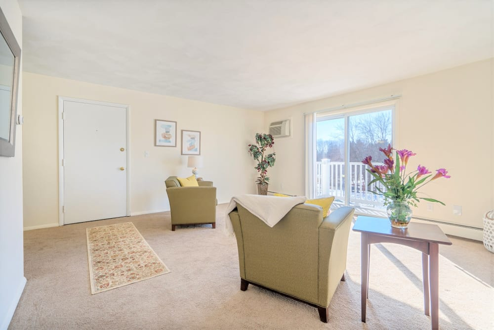 living room in apartment at Park Village West in Westborough, Massachusetts